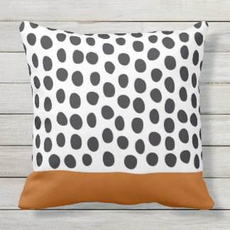 Modern Handpainted Polka Dots with Autumn Maple Throw Pillow