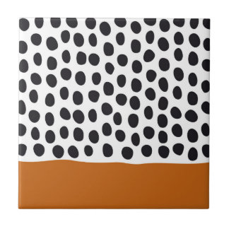 Modern Handpainted Polka Dots with Autumn Maple Tile
