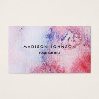Modern handpainted watercolor blue pink spatter business card