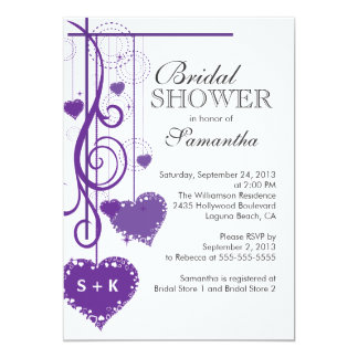 Modern Hanging Purple Hearts Bridal Shower 5x7 Paper Invitation Card