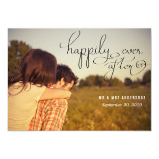 Modern Happily Ever After Typography Wedding Photo Card