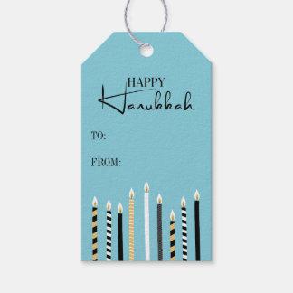 Modern Happy Hanukkah Candle Holiday Gift Tag