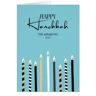 Modern Happy Hanukkah Candle Holiday Greeting Card