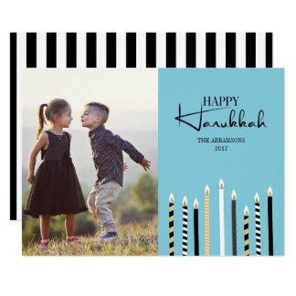Modern Happy Hanukkah Candles Holiday Photo Card