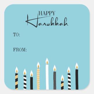 Modern Happy Hanukkah Candles Holiday Sticker