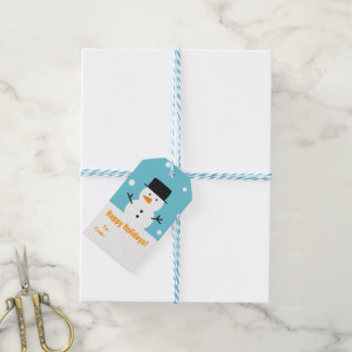Modern Happy Holidays Cute Snowman Gift Tag Pack Of Gift Tags
