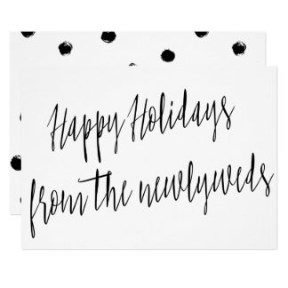 """Modern """"Happy Holidays from the newlyweds"""" Card"""
