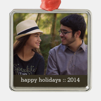 Modern Happy Holidays Photo Ornament