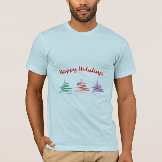Modern Happy Holidays Tree Cool Men's T-shirts
