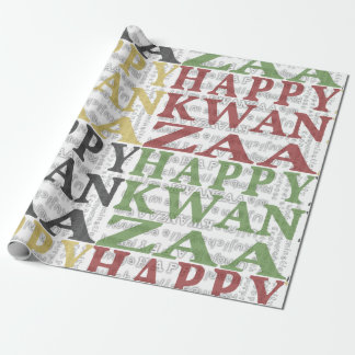 Modern Happy Kwanzaa Red Green Black Gold Wrapping Paper