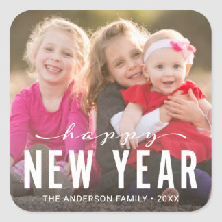 Modern Happy New Year Holiday Photo Square Sticker