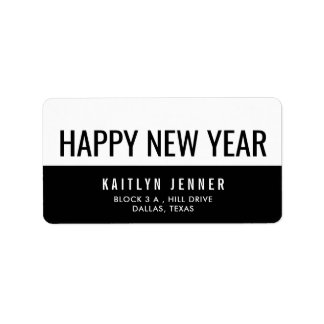 Modern Happy New Year Typography Black And White Label