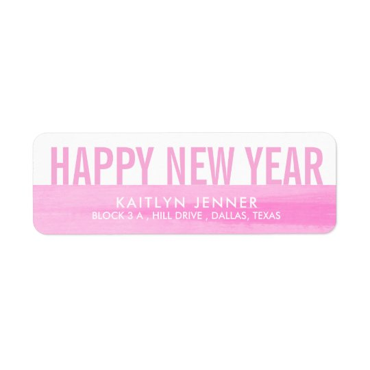 Modern Happy New Year | Typography Pink Whimsical