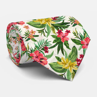 Modern Hawaiian Colorful Flowers Tie