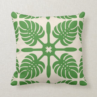 MODERN HAWAIIAN QUILT PILLOW- Monstera Throw Pillow