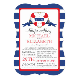 Modern Heart Buoy Engagement Party Announcement
