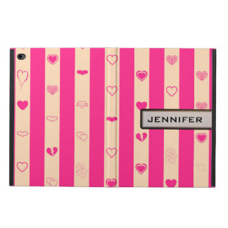 Modern Heart Elegant Hot Pink Stripe Powis iPad Air 2 Case