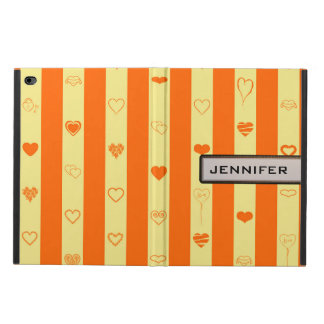 Modern Heart Elegant Orange Stripe Powis iPad Air 2 Case