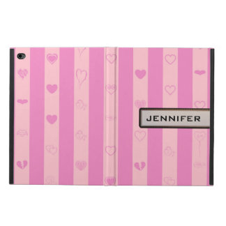 Modern Heart Elegant Pink Purple Stripe Powis iPad Air 2 Case
