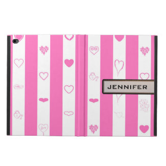Modern Heart Elegant Pink Stripe Powis iPad Air 2 Case