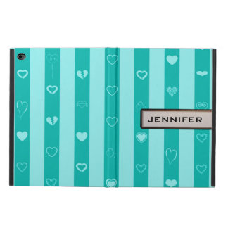Modern Heart Elegant Turquoise Stripe Powis iPad Air 2 Case