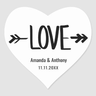Modern Heart LOVE Arrow White Wedding Seals