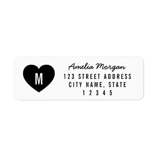Modern Heart Monogram Name Return Address Return Address Label