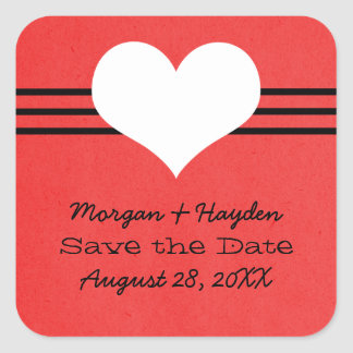Modern Heart Save the Date Stickers, Red