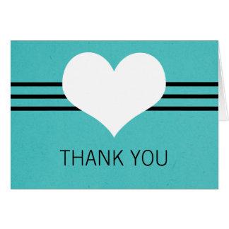 Modern Heart Thank You Card, Aqua Card