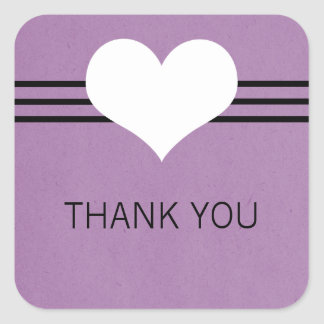 Modern Heart Thank You Stickers, Purple