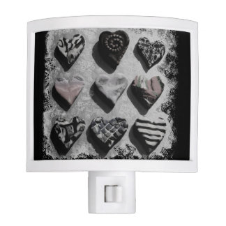 Modern Hearts Black, White, and Gray For Teen Girl Night Lights