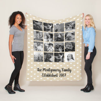 Modern Hearts Pattern 16  B & W Family Photo Fleece Blanket