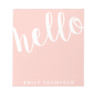 Modern Hello Personalized Social Stationery Notepads