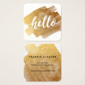 MODERN HELLO SCRIPT luxe gold brush stroke Square Business Card