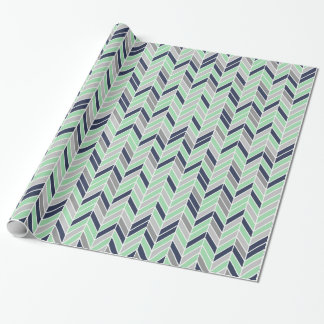 Modern Herringbone Chevron Geometric Pattern Wrapping Paper