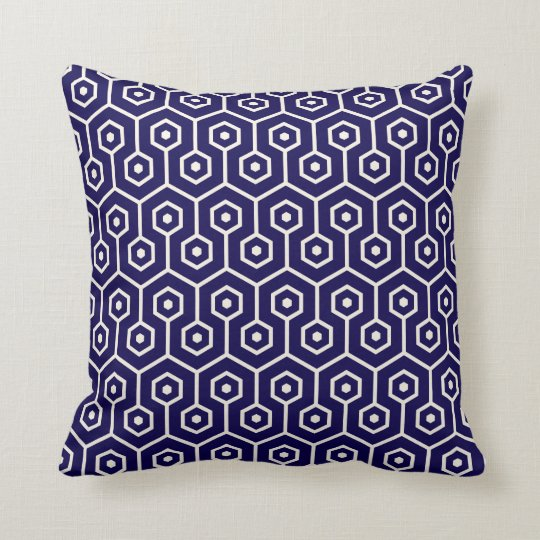 Modern Hexagon Honeycomb Pattern Cobalt Blue Throw Pillow