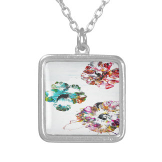 Modern Hibiscus Silver Plated Necklace