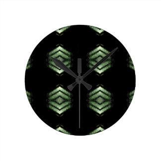 Modern Hip Black Green Pattern Round Clock