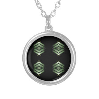 Modern Hip Black Green Pattern Silver Plated Necklace