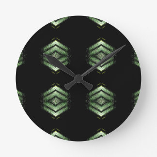 Modern Hip Black Green Pattern Wall Clock