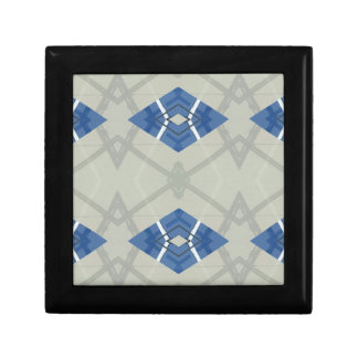Modern Hip Blue Gray Geometrical Pattern Trinket Boxes
