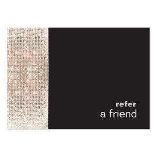 Modern Hip FAUX Sequins Salon Refer A Friend Black Large Business Cards (Pack Of 100)
