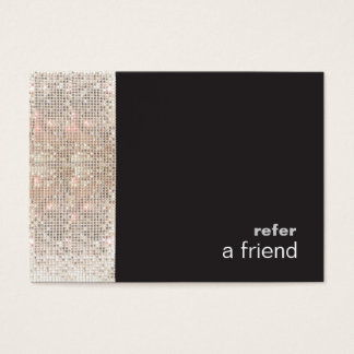Modern Hip FAUX Sequins Salon Refer A Friend Black Business Card