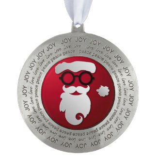 Modern Hipster Santa Claus Round Pewter Ornament