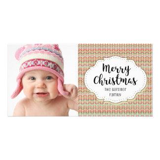 Modern Holiday Chevron Christmas Photo Card