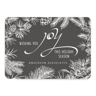 "Modern Holiday Joy Botanical Winter Branches 4.5"" X 6.25"" Invitation Card"