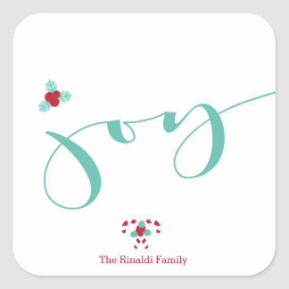 Modern Holiday, Joy! Holly Berries Square Sticker