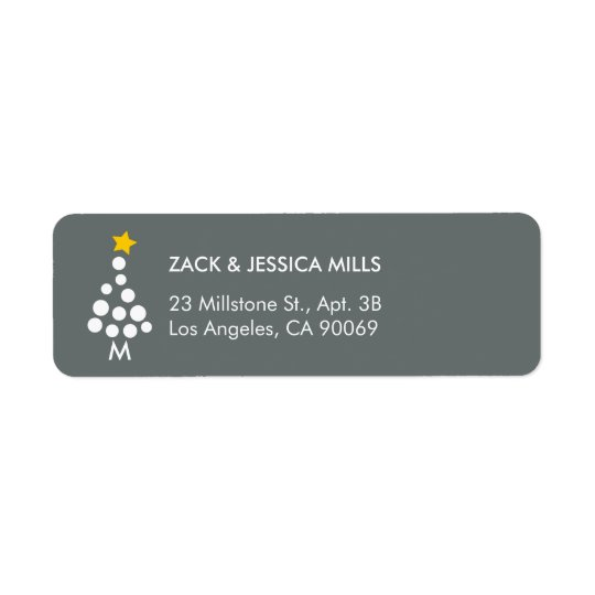 Modern Holiday Monogram Return Address Label