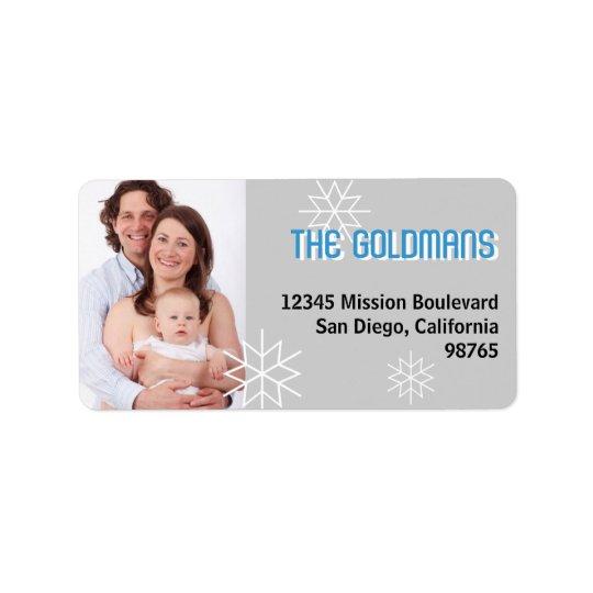 Modern holiday photo blue grey snowflake address