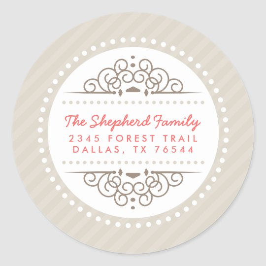 Modern Holiday Round Address Labels